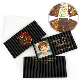 Personalized 60th Photo Pinstripes Milestone Birthday Gourmet Infused Belgian Chocolate Bars (3.5oz)