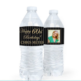 Personalized Milestones Birthday Photo 60th Water Bottle Sticker Labels (5 Labels)