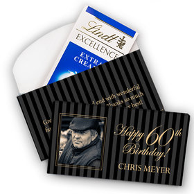Deluxe Personalized Milestone 60th Birthday Photo Pinstripes Lindt Chocolate Bar in Gift Box (3.5oz)