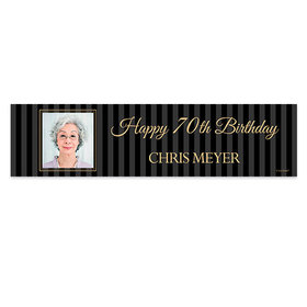 Personalized 70th Pinstripe Photo Birthday Banner