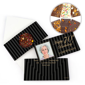 Personalized 70th Photo Pinstripes Milestone Birthday Gourmet Infused Belgian Chocolate Bars (3.5oz)