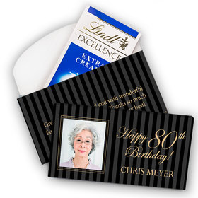 Deluxe Personalized Milestone 80th Birthday Photo Pinstripes Lindt Chocolate Bar in Gift Box (3.5oz)
