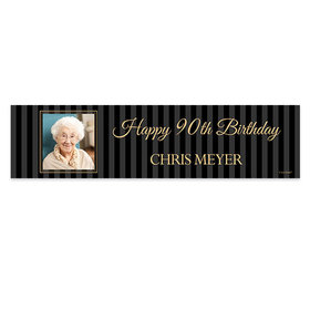 Personalized 90th Pinstripe Photo Birthday Banner