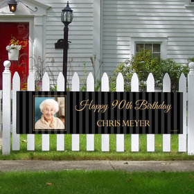 Personalized 90th Pinstripe Photo Birthday 5 Ft. Banner