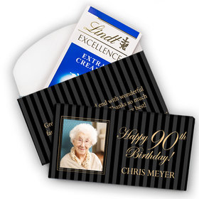 Deluxe Personalized Milestone 90th Birthday Photo Pinstripes Lindt Chocolate Bar in Gift Box (3.5oz)