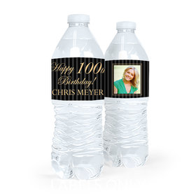 Personalized Milestones Birthday Photo 100th Water Bottle Sticker Labels (5 Labels)