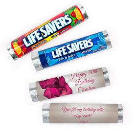 Personalized Large Flower Birthday Lifesavers Rolls (20 Rolls)