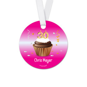 Personalized Birthday 30th Birthday Cupcake Round Favor Gift Tags (20 Pack)