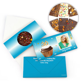 Personalized 30th Cupcake Photo Milestone Birthday Gourmet Infused Belgian Chocolate Bars (3.5oz)