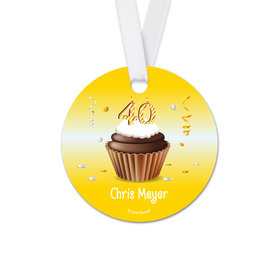 Personalized Birthday 40th Birthday Cupcake Round Favor Gift Tags (20 Pack)