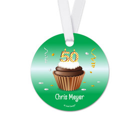 Personalized Birthday 50th Birthday Cupcake Round Favor Gift Tags (20 Pack)