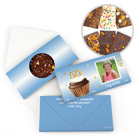Personalized 50th Cupcake Photo Milestone Birthday Gourmet Infused Belgian Chocolate Bars (3.5oz)