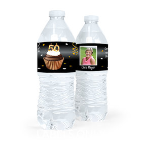 Personalized Milestones Birthday 50th Cupcake Water Bottle Sticker Labels (5 Labels)