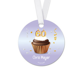 Personalized Birthday 60th Birthday Cupcake Round Favor Gift Tags (20 Pack)