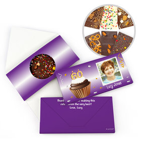 Personalized 60th Cupcake Photo Milestone Birthday Gourmet Infused Belgian Chocolate Bars (3.5oz)