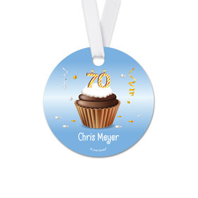 Personalized Birthday 70th Birthday Cupcake Round Favor Gift Tags (20 Pack)