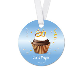 Personalized Birthday 80th Birthday Cupcake Round Favor Gift Tags (20 Pack)