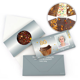 Personalized 80th Cupcake Photo Milestone Birthday Gourmet Infused Belgian Chocolate Bars (3.5oz)