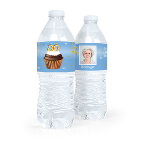 Personalized Milestones Birthday 80th Cupcake Water Bottle Sticker Labels (5 Labels)