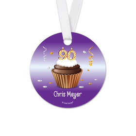Personalized Birthday 90th Birthday Cupcake Round Favor Gift Tags (20 Pack)