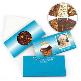 Personalized 90th Cupcake Photo Milestone Birthday Gourmet Infused Belgian Chocolate Bars (3.5oz)