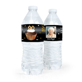 Personalized Milestones Birthday 90th Cupcake Water Bottle Sticker Labels (5 Labels)