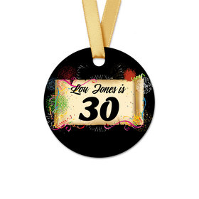 Personalized Birthday 30th Confetti Round Favor Gift Tags (20 Pack)