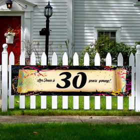 Personalized Confetti 30th Birthday 5 Ft. Banner