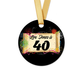 Personalized Birthday 40th Confetti Round Favor Gift Tags (20 Pack)