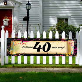 Personalized Confetti 40th Birthday 5 Ft. Banner