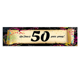 Personalized Confetti 50th Birthday Banner