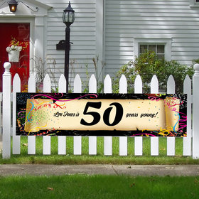 Personalized Confetti 50th Birthday 5 Ft. Banner