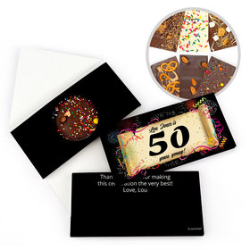 Personalized 50th Scroll Milestone Birthday Gourmet Infused Belgian Chocolate Bars (3.5oz)