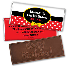 His Mousey Birthday Personalized Embossed Chocolate Bar Assembled