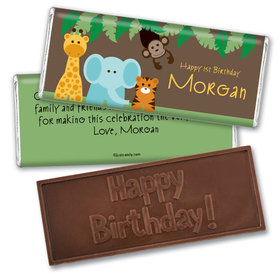 Jungle Friends Personalized Embossed Chocolate Bar Assembled