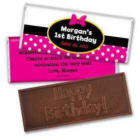 Her Mousey Birthday Personalized Embossed Chocolate Bar Assembled