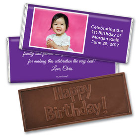 First Birthday Snapshot Personalized Embossed Chocolate Bar Assembled