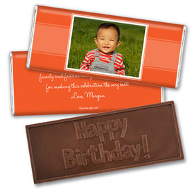First Birthday Portrait Personalized Embossed Chocolate Bar Assembled