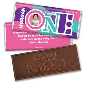 Turning One Personalized Embossed Chocolate Bar Assembled