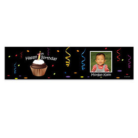 Personalized Cupcake Photo Birthday Banner
