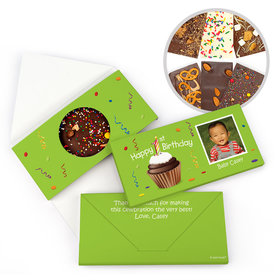 Personalized Photo Cupcake Birthday Gourmet Infused Belgian Chocolate Bars (3.5oz)