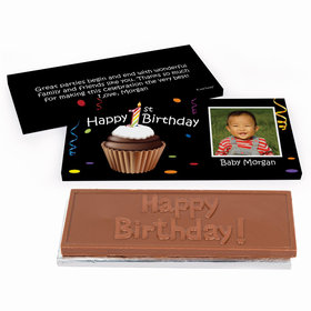 Deluxe Personalized Photo Cupcake 1st First Birthday Chocolate Bar in Gift Box