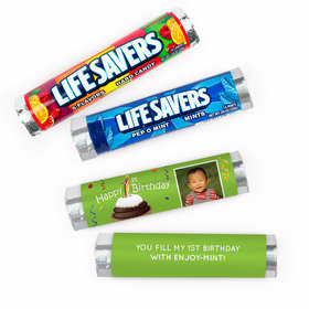 Personalized First Birthday Photo Cupcake Lifesavers Rolls (20 Rolls)