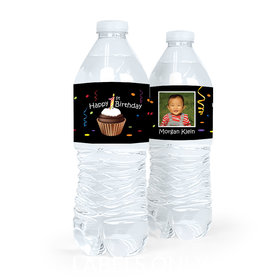 Personalized First Birthday Cupcake Water Bottle Sticker Labels (5 Labels)