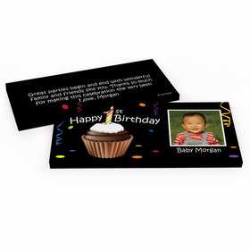 Deluxe Personalized Photo Cupcake 1st First Birthday Hershey's Chocolate Bar in Gift Box