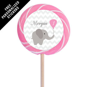"Birthday Personalized 3"" Light Pink Swirly Pop Chevron Dots Elephant(12 Pack)"