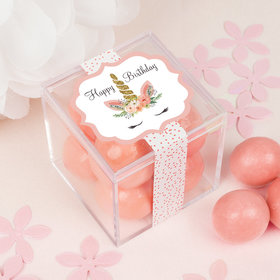 Personalized Birthday Whimsical Unicorn Sweet Candy in a Cube with Premium Malted Milk Balls