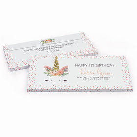 Deluxe Personalized First Birthday Whimsical Unicorn Chocolate Bar in Gift Box
