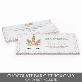Deluxe Personalized First Birthday Whimsical Unicorn Candy Bar Favor Box