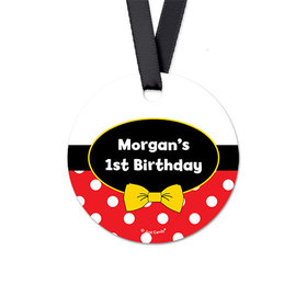 Personalized Mickey Mouse Birthday Round Favor Gift Tags (20 Pack)